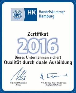 Ausbildungszertifikat 2016