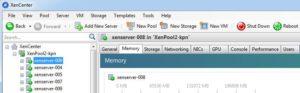 Screenshot vom XenCenter mit Hostservern für Servervirtualisierung