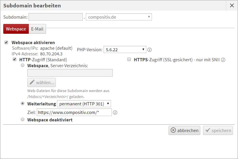 Beispiel für die Einrichtung einer Weiterleitung in Live Config mit Übergabe des Request URI