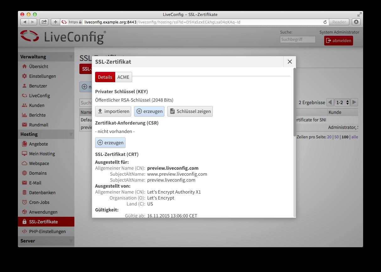 Hinzufügen eines Let's-Encrypt-Zertifikats in Liveconfig