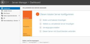 Screenshot vom Dashboard im Windows Server 2016